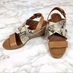 Cole Haan Snakeskin Penelope Wedge Sandals 6.5